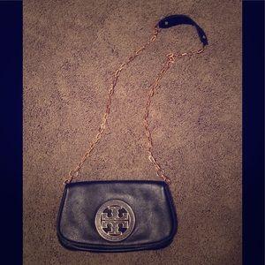 Tory Burch black leather clutch purse